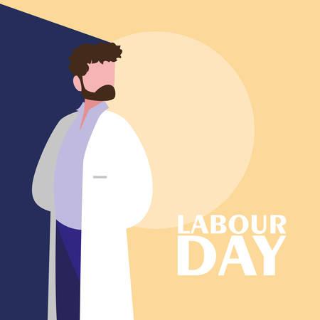 Celebración del día del trabajo con el médico, diseño de ilustraciones vectoriales Ilustración de vector