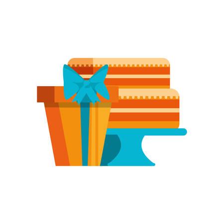sweet cake of birthday with gift box vector illustration design Çizim