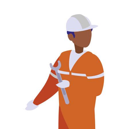 Homme d'avatar d'ingénieur avec la conception de casque blanc de l'atelier de travail d'ouvrier d'entretien de construction réparant et progressant le thème Vector illustration Vecteurs