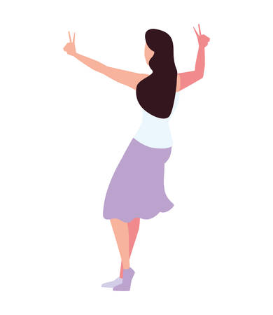young woman of back position on white background vector illustration design Foto de archivo - 138922621