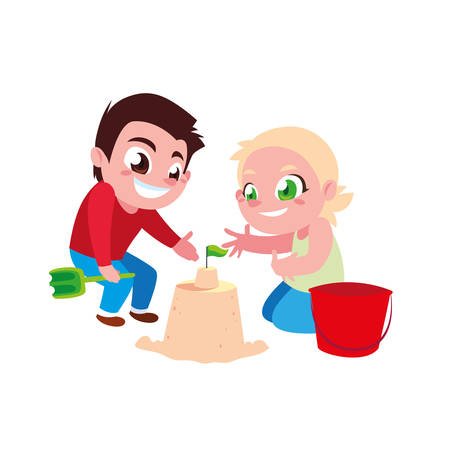 Boy and girl cartoon design, Kid childhood little people lifestyle and person theme Vector illustration
