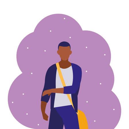 young black boy student modeling vector illustration design Archivio Fotografico - 138943139
