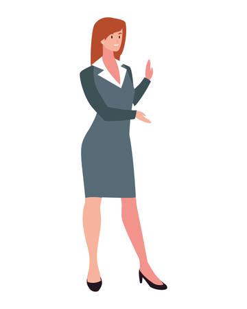 businesswoman standing on white background vector illustration design Foto de archivo - 138911830