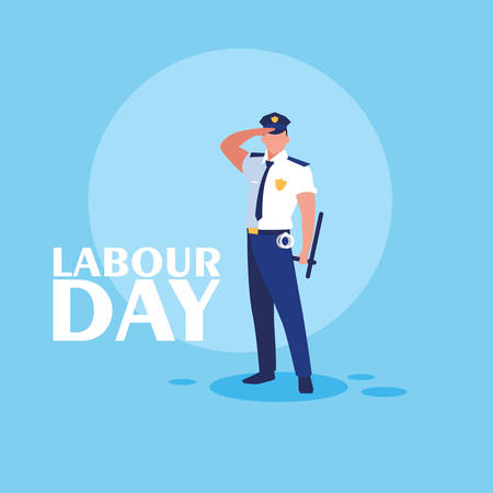 labour day celebration with police vector illustration design