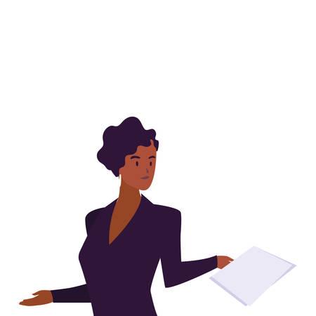 businesswoman smiling on white background vector illustration design Foto de archivo - 138969561