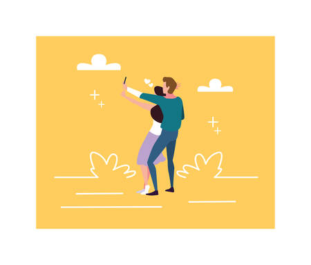 couple of people in love, man and woman embracing each other affectionately vector illustration design Illustration