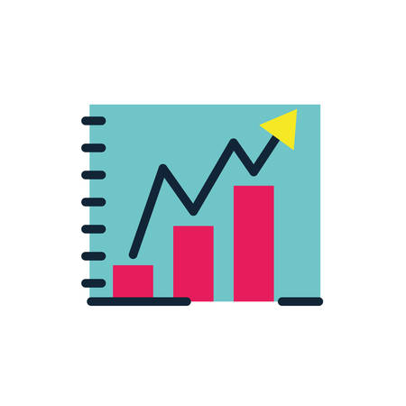 Increase arrow and bars design, workflow infographic data information business analytics and visual presentation theme Vector illustration