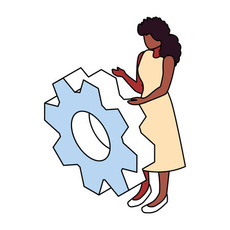 woman with gearwheel on white background vector illustration design Illustration