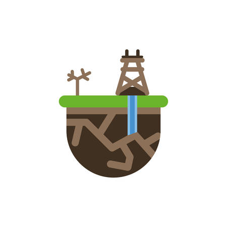 Oil tower and tree design, Fracking industry fuel technology power industrial production and petroleum theme Vector illustration Vektorové ilustrace