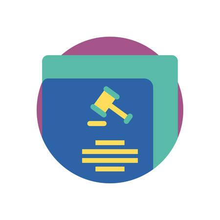 Hammerrecht und Dokumentendesign, Justizgerichtsurteil Justizbehörde Freiheit Verdikt Anwalt und Kriminalität Thema Vector Illustration Vektorgrafik