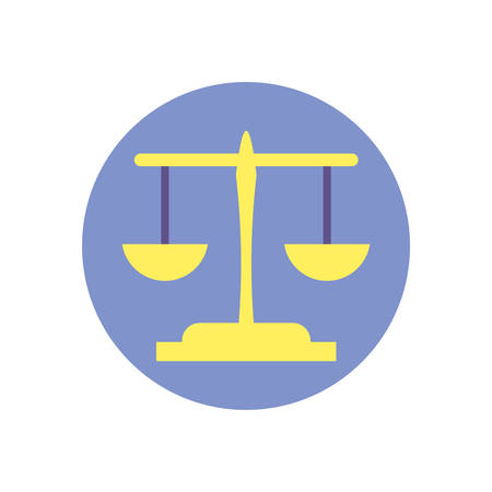 Scale law design, Justice legal judgment judical authority freedom veridict attorney and crime theme Vector illustration