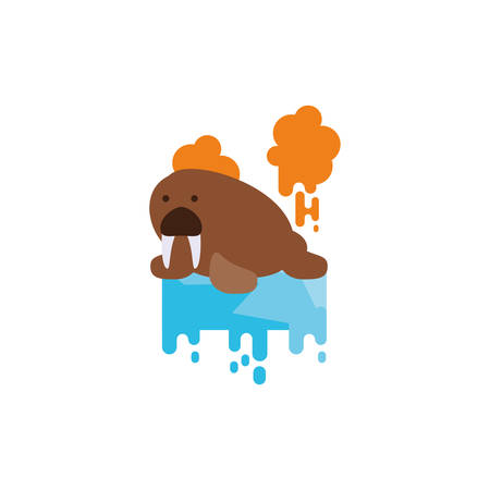 Sea lion animal over melted ice design, Climate change global warning pollution environment nature green and extreme danger theme Vector illustration