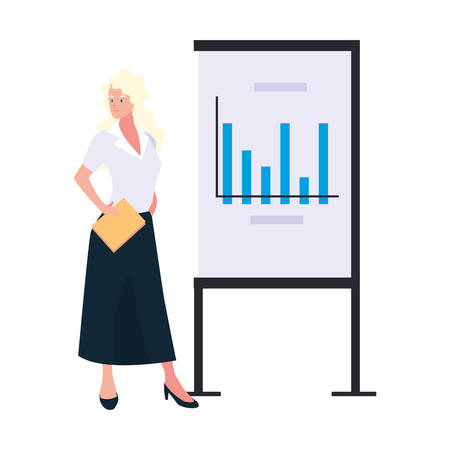 businesswoman standing with graphs on white background vector illustration design