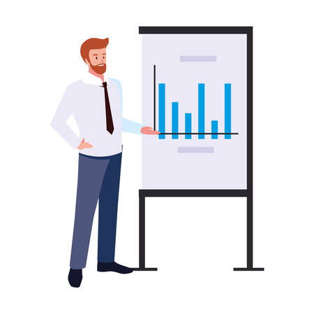 businessman standing with graphs on white background vector illustration design 일러스트
