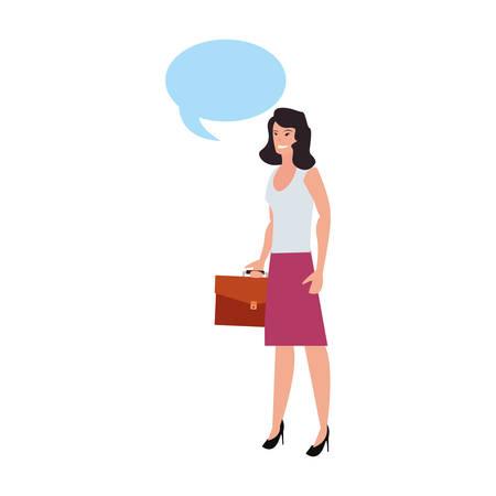 Geschäftsfrau Aktenkoffer Sprechblase auf weißem Hintergrund Vektor-Illustration