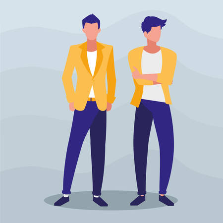 young boys with pose of modeling vector illustration design