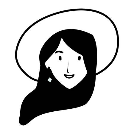 head of woman smiling on white background vector illustration design