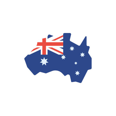 Australian flag map design, Travel tourism landmark destination nature vacation south western and holiday theme Vector illustration