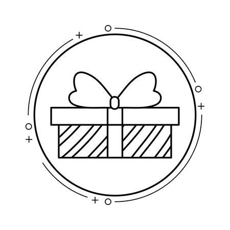 gift box present in frame circular vector illustration design