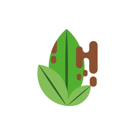 Leaves with waste design, Pollution factory environment dirty danger industry plant chemical and toxic theme Vector illustration