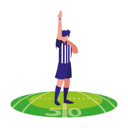 Árbitro de fútbol americano con la mano en el césped del estadio, diseño de ilustraciones vectoriales
