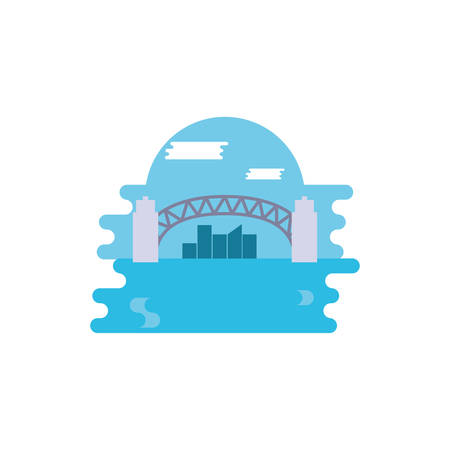Australian bridge and city design, Travel tourism landmark destination nature vacation south western and holiday theme Vector illustration
