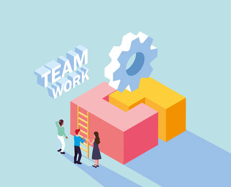 group of people with puzzle piece , teamwork vector illustration design