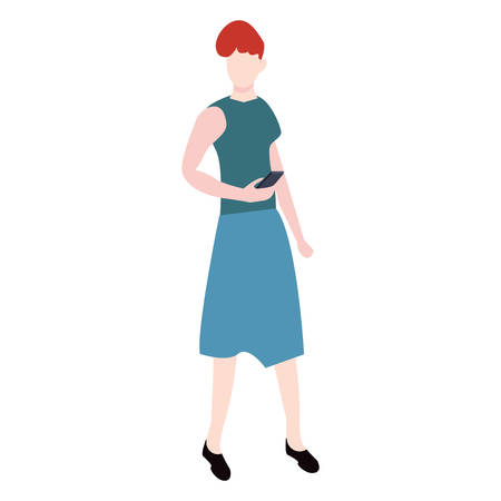 woman avatar character on white background vector illustration