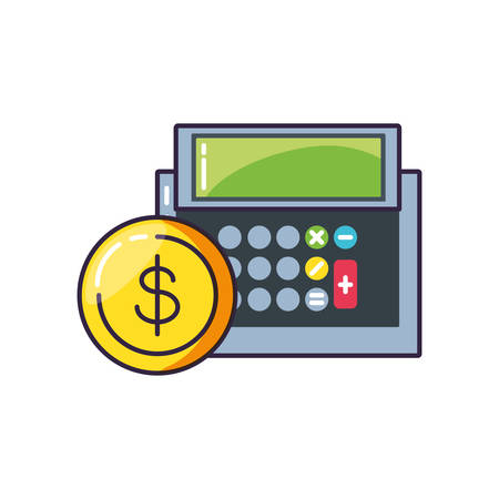 calculator math finance with coin vector illustration design
