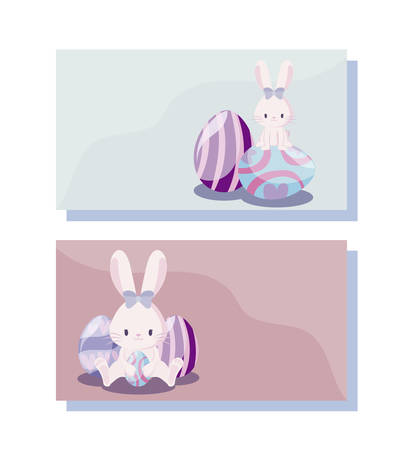 cards with cute rabbits female of easter vector illustration design