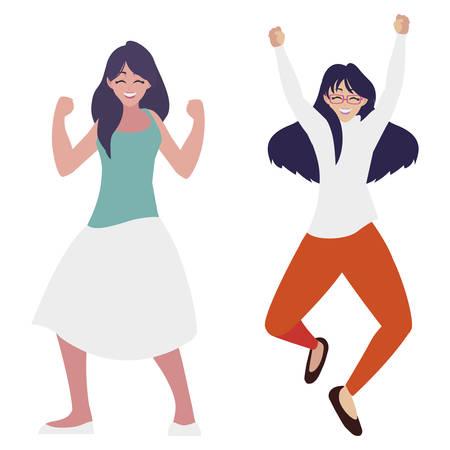 happy young women celebrating characters vector illustration design Ilustración de vector