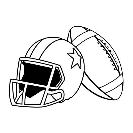 helmet and ball american football on white background vector illustration design Illustration