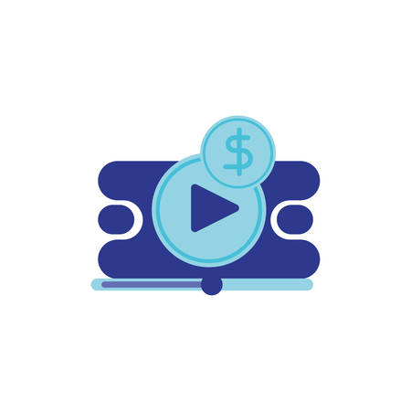 Movie play button and coin design, Cinema video film media entertainment show motion and presentation theme Vector illustration