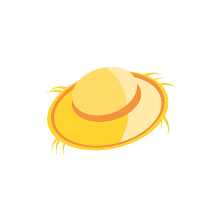 cute farmer hat , straw hat on white background vector illustration design
