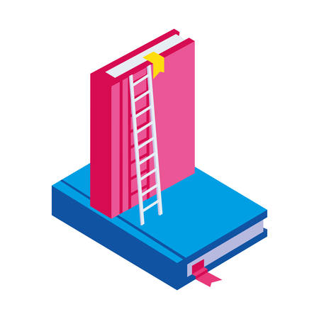 pile text books with stair up vector illustration design