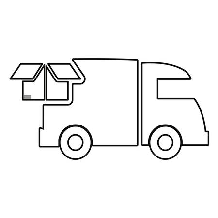 truck cardboard box fast delivery vector illustration