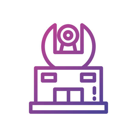 Telescope icon design, Science discovery observe astronomy sky lens instrument space and discover theme Vector illustration