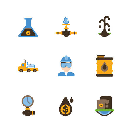 Fracking icon set design, Oil industry fuel technology power industrial production and petroleum theme Vector illustration Çizim