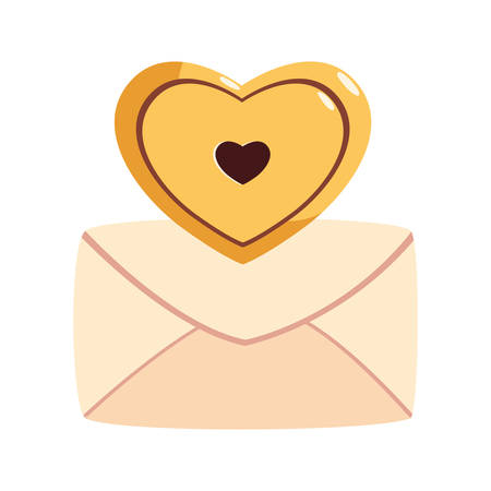 envelope closed with a heart on white background vector illustration design