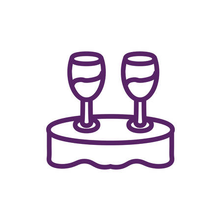 Wine cups over table design of Winery alcohol drink beverage restaurant celebration and party theme Vector illustration Banque d'images - 139220247