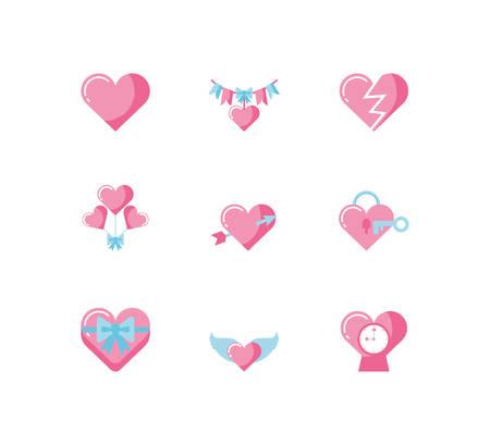 Diseño de conjunto de iconos de amor, día de San Valentín, boda, pasión, decoración romántica y tema de matrimonio, ilustración vectorial
