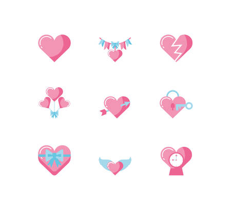 Icon Set Design der Liebe Valentinstag Hochzeit Leidenschaft romantische Dekoration und Ehe Thema Vector Illustration