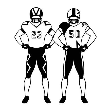 men players american football on white background vector illustration design