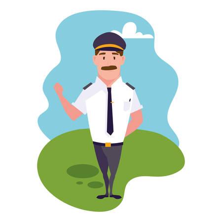 man with driver suit on background landscape vector illustration design