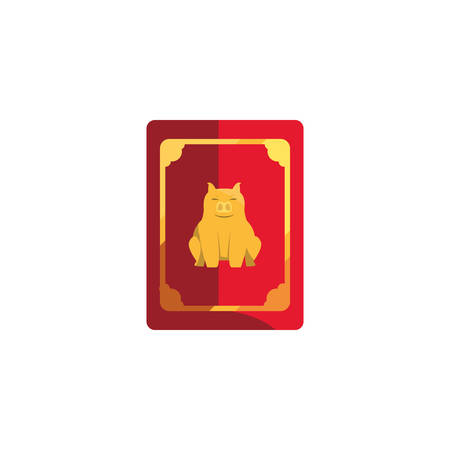 Chinese pig red card design, China culture asia travel landmark famous asian and oriental theme Vector illustration