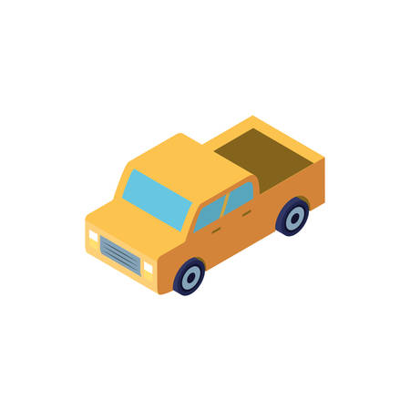 yellow truck on white background vector illustration design