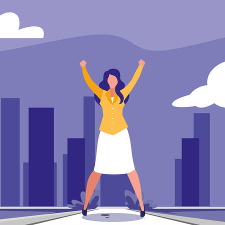 businesswoman celebrating victory, business professional woman vector illustration design Vectores