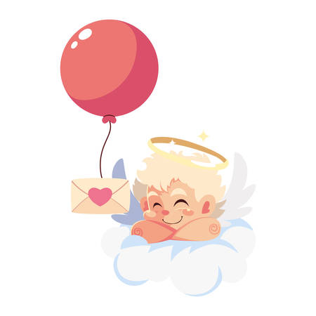 cute cupid angel holding a love letter in white background vector illustration design