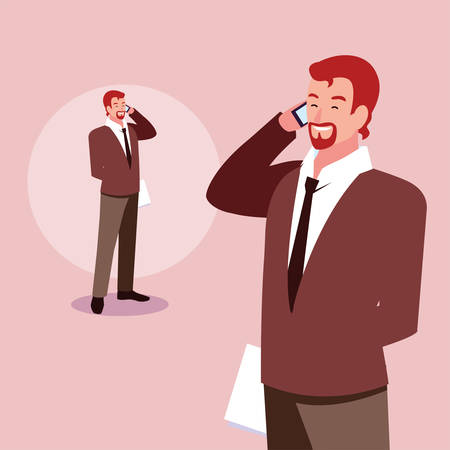 cute businessman with various views, poses and gestures vector illustration design