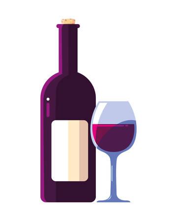 bottle and glass of wine on white background vector illustration design 向量圖像